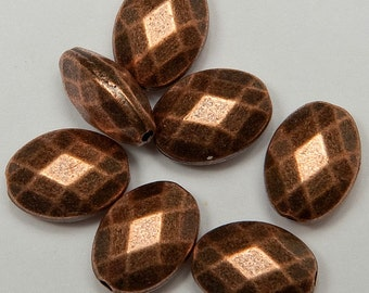 14 Faceted Oval Beads in Antiqued Copper Tone, Lead/Nickel Free Base Metal Beads, M0249-AC