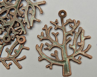 10 Tree Charms in Antiqued Copper Tone, Lead/Nickel Free Base Metal Charms, M0301-AC