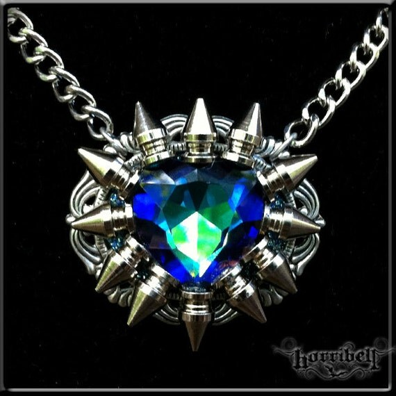 Spike Necklace with Blue-Green Swarovski Crystal Heart