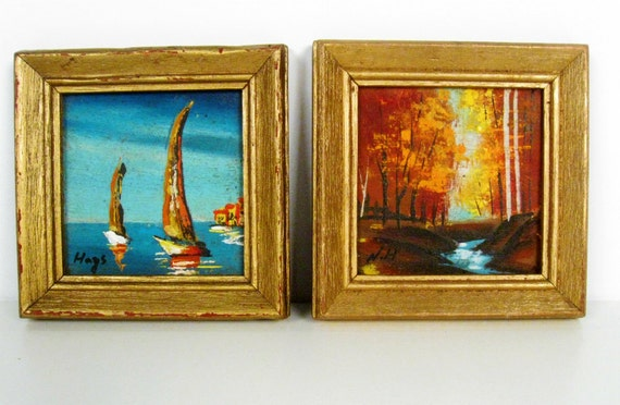 vintage mini framed oil paintings - sailboats - autumn forest - set of 2 - 1960s