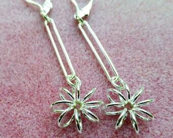 Sterling Silver Flower Power Dangle Earrings