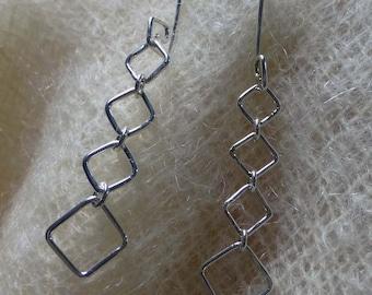 Sterling Silver Handmade Graduated Square Link Dangle Earrings
