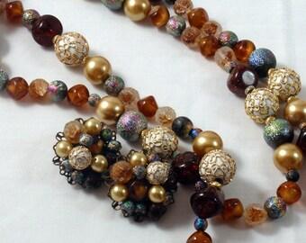 Art Glass Raku Bead Necklace & Earring Set Vintage Designer Fall Into Winter