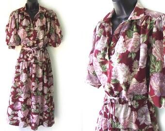 70s Maroon with Khaki & Green Floral Print Dress M