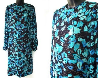 SALE! 80s Blue and Black Textured Leaf Print Dress M