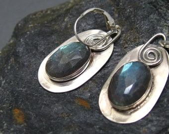 Labradorite and Sterling Silver Artisan Dangle Earrings, Handcrafted Sterling Earrings with Faceted Stone by Liz Blanchflower