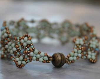 Vineyard Trellis Bracelet Feature in Beadwork Magazine Hand Beaded  Bracelet with Labradorite rondells and Antique brass magnetic clasp