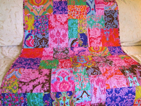 Reserved for Lindzie: 72x88 Custom Order Crazy Love Random Patchwork Quilt Set 50% balance due