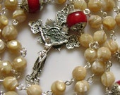 Valuable Sterling 925 Silver Six Coral Father Beads Tridacninae ROSARY  Cross Catholic rosary beads crucifix medal necklace