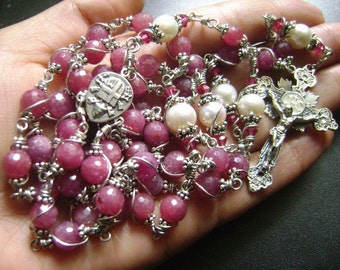 SO Beautiful Sterling 925 Silver Undoubted Ruby Rosary cross Wire Wrapped Beads gift Necklace Box