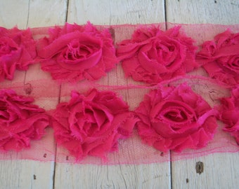 Shabby Chic RASPBERRY PINK Rose Trim on Net-2 1/2 inch- 1/2 yard