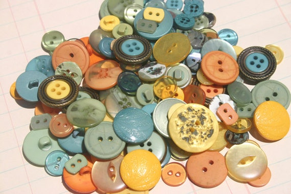 Buttons Sewing Hand Dyed Teal Aqua Orange Yellow Green - 100 Buttons - Early Autumn