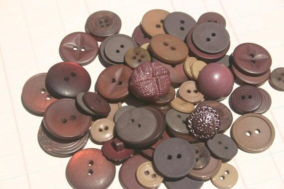 Dark Brown Buttons - Assorted Round - Sewing Embellishments - Espresso