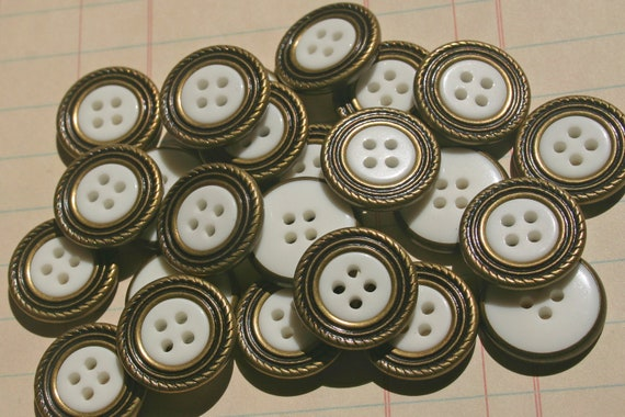 Bulk Buttons Off White With Metal Edge -  Sewing Embellishments - 24 Buttons