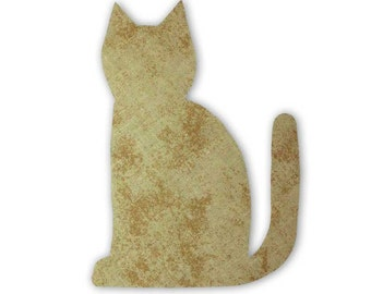 Beige Cat Fusible Fabric Appliques Cotton Quilting Sewing Collage Die Cut