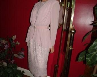 Vintage 90s Flapper Dress does 20-30s Teacher Office Lady Vintage Pink rose Size 10