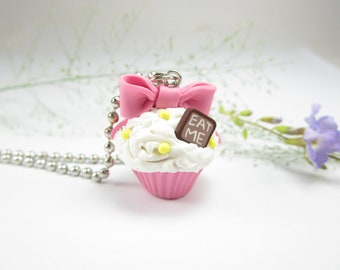 Pink Bow Eat Me Cupcake Necklace - Food Jewelry , food necklace polymer clay