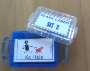 FLASH CARDS (SET 5) - 'Olelo Hawai'i / English -  80 cards plus storage box