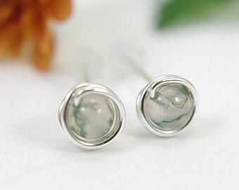 Tiny moss agate post earrings 925 sterling silver wire wrapped green gemstone stud earrings mini earrings second piercing 5mm small size