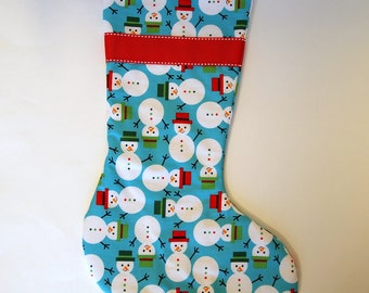 Snowman on Turquoise Christmas Stocking with Red Lining