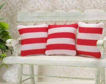 Red White Striped Pillows 1:12 Dollhouse Miniatures Inch Scale Artisan