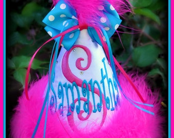 Aqua/Hot Pink Custom, First Birthday Party Hat, YOU CHOOSE COLORS,   by Gingham Bunny Embroidery