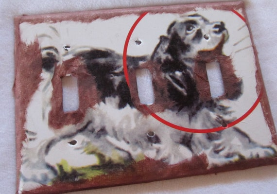 vintage dictionary SPOT (from the vintage children's book Dick and Jane)  triple light switch plate (metal)