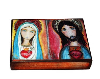 Sacred Hearts of Mary and Jesus -  Giclee print mounted on Wood (6 x 8 inches) Folk Art  by FLOR LARIOS