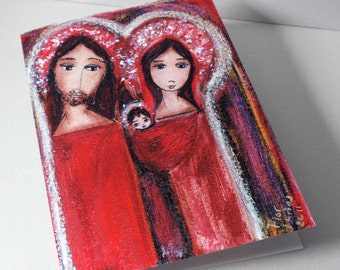 Christmas Day Nativity Holiday Cards Set- Nativity  (Set of five with envelopes) Folk Art By FLOR LARIOS