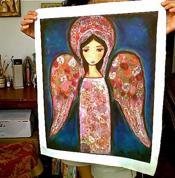 Angel en Rosa- Large Print on Fabric from Original Painting (16 x 20 inches) by FLOR LARIOS
