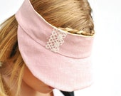 Free Shipping in Australia Pink linen Visor reversible and fits all