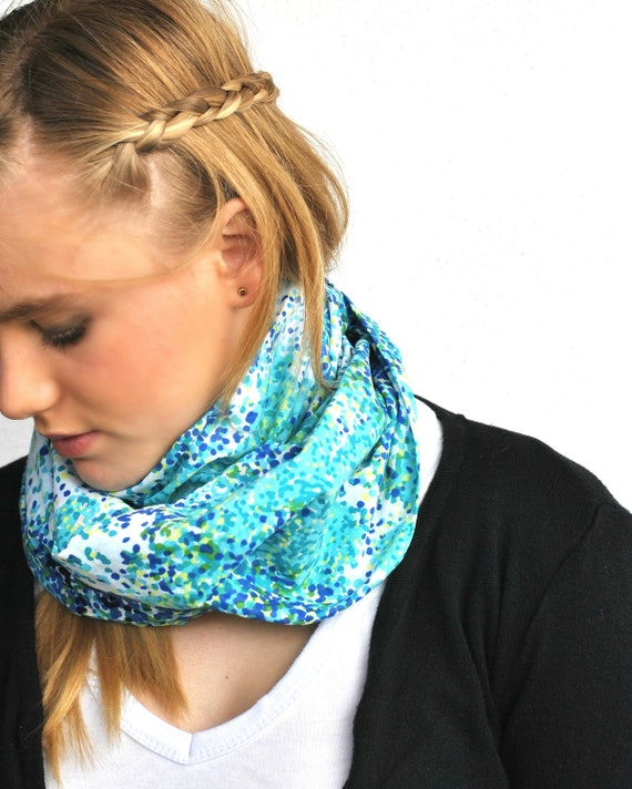 Soft Light loop tube INFINITY SCARF-in blue lime and white modern print cotton voile.