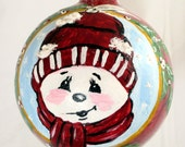 Hand Painted Glass Christmas Ornament - Smowman in Red Cap on Red Ball  FREE SHIPPING
