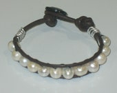 Womens Teen Fresh Water Pearl Bracelet cuff leather cord metal button GIFT