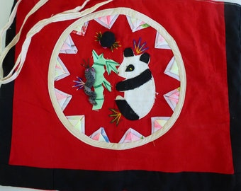 Vintage Panda Tote Bag Chinese Quilted Patchwork Hand Made Hand Embroidered Applique Cotton Purse Asian Oriental Souvenir Red Panda