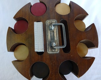 Vintage Poker Chip Caddy with Lid Gift for Him Wooden Poker Caddy Wood Poker Chips Antique Lazy Susan Casino Night Texas Hold Em Party