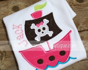 Arrgh Pink Pirate Ship Applique Shirt or Bodysuit