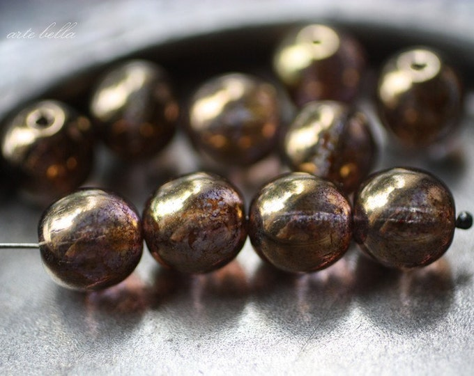 BRONZE PLUM MARBLES No. 1 .. 10 Picasso Czech Glass Druk Beads 10mm (2575-10)