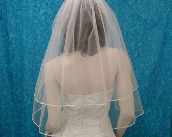 Wedding Veils  Two Tier Elbow  length   Bridal Veil trimmed with  Satin Rattail or Flat Ribbon trim