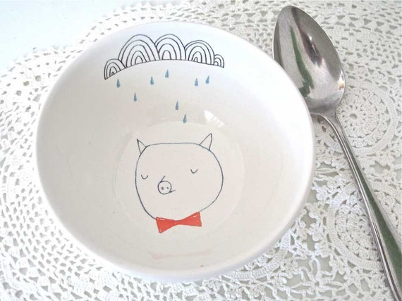 SALE Bowl - pig with bow tie