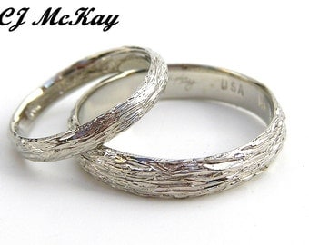 14K White Gold Wedding Ring Set Tree Bark Design CR85Qset