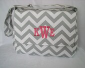 Gray Chevron Diaper  Bag Messenger Style  with  Monogram