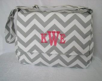Gray Chevron Diaper  Bag Messenger Style  with  Monogram