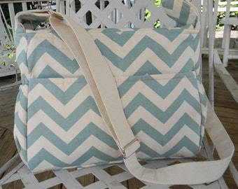 Village Blue and Natural  Chevron Diaper Bag  with Top Zipper Closure Free Shipping