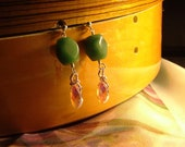 Gorgeous and Colorful Geometric Faceted Aventurine and Fire Polished Pink Faceted Czech Glass Dangly Sterling Silver Post Earrings