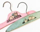 2 Vintage Child Hangers - Shades of Blue-Green and Pink - Cat and Rabbits