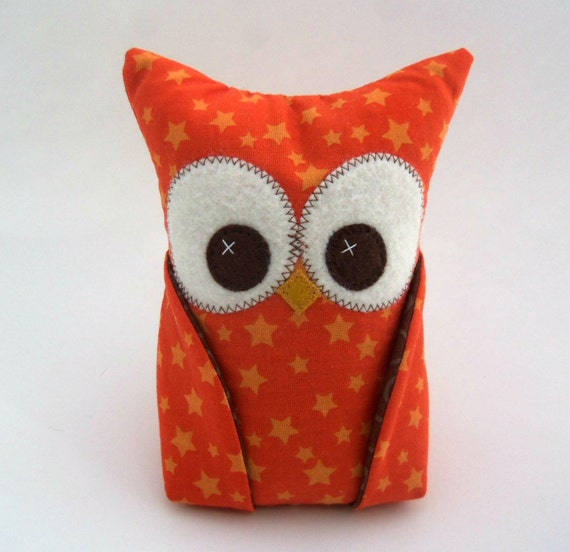 Owl bookend with Riley Blake READY TO SHIP