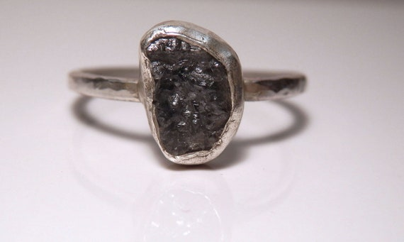 RESERVED for Kate: Sterling silver and medium grey conflict free rough diamond ring