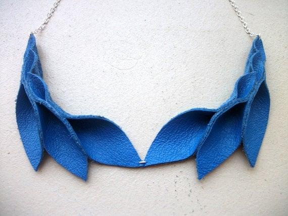 Petal Collection- Double Electric Blue Leather Petals Necklace