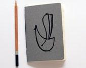 Birdy - Grey - Pocket size - Linoleum Block Printed - Handbound notebook